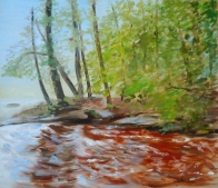 Upstream from Wilson Falls, Bracebridge, Oil on Wood Panel, 16 x 12 inches, Copyright Wendie Donabie
